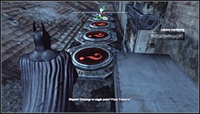 After reaching the destination you should note that the Trophy is inside a cage #1 and that there are five pressure plates around it - Batman trophies (26-37) | Industrial District - Industrial District - Batman: Arkham City Game Guide