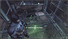 Take out the Batclaw and use it to grab the upper platform #1 - Batman trophies (26-37) | Industrial District - Industrial District - Batman: Arkham City Game Guide