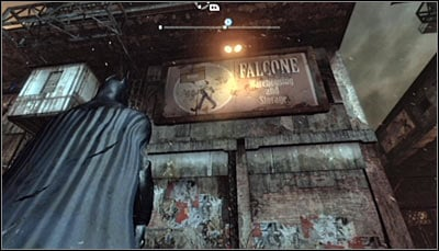 Find the Falcone Warehousing and Storage billboard (screen above) and scan it - Riddles - Industrial District - Batman: Arkham City - Game Guide and Walkthrough