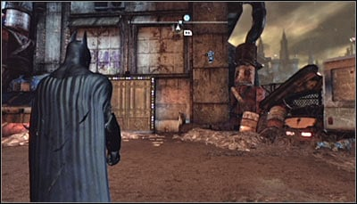 The solution to this puzzle can be found inside Storage Warehouse 5B where you should head only after completing Heart of Ice - Riddles - Industrial District - Batman: Arkham City - Game Guide and Walkthrough