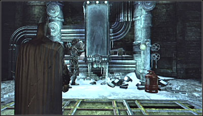 After getting inside the building, stand in front of the chamber with Nora Fries, beside which Mister Freeze should be (screen above) - Riddles - Industrial District - Batman: Arkham City - Game Guide and Walkthrough