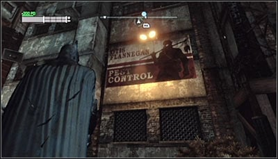 Find the Otis Flannegan Pest Control billboard (screen above) and scan it - Riddles - Industrial District - Batman: Arkham City - Game Guide and Walkthrough