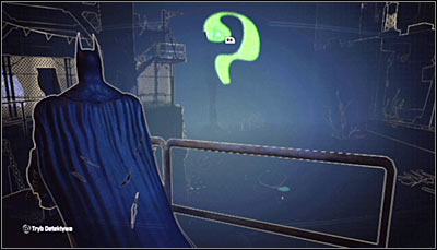 If you analyze the area in Detective Mode, you should note that there's an incomplete question mark there (screen above) - Riddles - Industrial District - Batman: Arkham City - Game Guide and Walkthrough