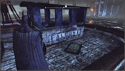 Jump, swim or glide to the barque north of the Industrial District - Riddles - Industrial District - Batman: Arkham City - Game Guide and Walkthrough