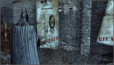 Find the Black Mask poster (screen above) and scan it - Riddles - Industrial District - Batman: Arkham City - Game Guide and Walkthrough