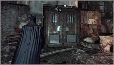 This riddle can be solved inside the building in which Zsasz's had his hideout - Riddles - Industrial District - Batman: Arkham City - Game Guide and Walkthrough