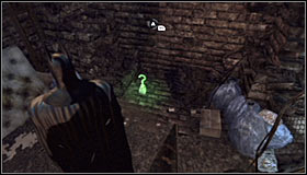 After passing through the shaft, turn on the Detective Mode thanks to which you will establish that you can destroy the nearby wall fragment with the Explosive Gel #1 - Batman trophies (12-26) | Subway - Subway - Batman: Arkham City Game Guide