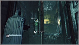 Stand on the wooden platform south of the Trophy #1 - Batman trophies (12-26) | Subway - Subway - Batman: Arkham City Game Guide