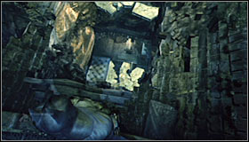After reaching the western ledge, turn on the Detective Mode thanks to which you should note that the floor here can be destroyed #1 - Riddles - Subway - Batman: Arkham City - Game Guide and Walkthrough