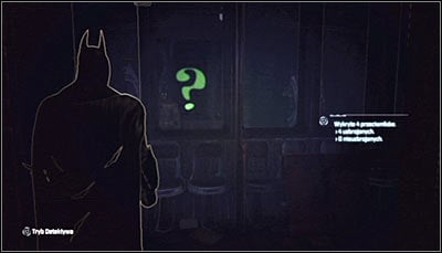 The question mark you have found is a reflection, so as you have probably guessed you will have to turn around and examine the windows in the southern part of the wagon - Riddles - Subway - Batman: Arkham City - Game Guide and Walkthrough