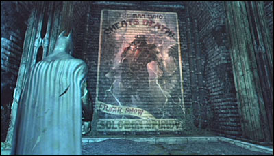 Find a Solomon Grundy graffiti on the wall (screen above) and scan it - Riddles | Subway - Subway - Batman: Arkham City Game Guide