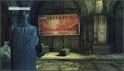 Find the Santa Prisca poster on the northern wall of the main station room (screen above) and scan it - Riddles - Subway - Batman: Arkham City - Game Guide and Walkthrough