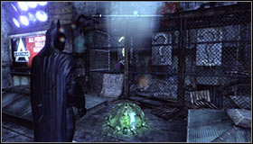 Zoom in on the middle question mark (by pressing the right analog stick) #1 and only afterwards press the RB button to detonate - Batman trophies (01-09) | Bowery - Bowery - Batman: Arkham City Game Guide
