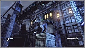 Search for a horse statue nearby the northern Museum entrance #1 - Batman trophies (01-09) | Bowery - Bowery - Batman: Arkham City Game Guide