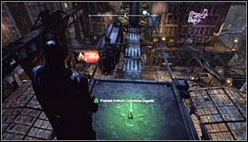 Examine the pillars north of the Museum, reaching it with the help of the Grapnel Gun #1 - Batman trophies (01-09) | Bowery - Bowery - Batman: Arkham City Game Guide
