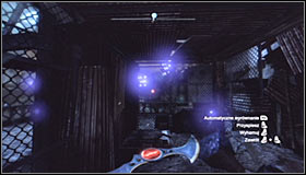 Throw the Batarang, aiming at the ventilation shaft entrance found beside the Trophy cage #1 - Batman trophies (01-09) | Bowery - Bowery - Batman: Arkham City Game Guide