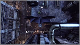 Jump off the ledge and glide towards the second plate found north of here #1, helping yourself with the Dive Bomb (activated by holding down the right trigger in mid-air) #2 - Batman trophies (22-30) | Bowery - Bowery - Batman: Arkham City Game Guide