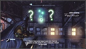 Stand opposite to the group of three question marks #1 - Batman trophies (22-30) | Bowery - Bowery - Batman: Arkham City Game Guide