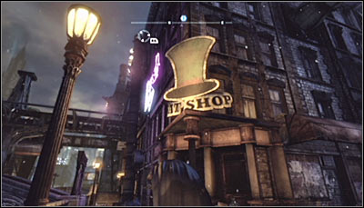 Find the hats shop (screen above) and scan the entrance - Riddles | Bowery - Bowery - Batman: Arkham City Game Guide