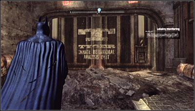 Find the gate with the TYGER logo (screen above) and scan it - Riddles - Bowery - Batman: Arkham City - Game Guide and Walkthrough