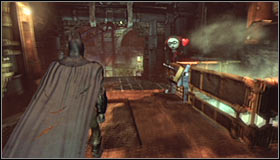 If you stand in the marked spot and turn on the Detective Mode, you should note an incomplete question mark #1 - Riddles - Steel Mill - Batman: Arkham City - Game Guide and Walkthrough