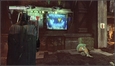 Find the Boyle Cryogenics banner (screen above) and scan it - Riddles | Steel Mill - Steel Mill - Batman: Arkham City Game Guide