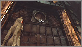You need to swing the hook enough for it to destroy the big fan on the southern wall #1 - Catwoman trophies | Steel Mill - Steel Mill - Batman: Arkham City Game Guide