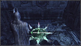You will have to solve an easy puzzle requiring you to hit one of the question marks in the moment it lights up - Batman trophies (11-23) | Museum - Museum - Batman: Arkham City Game Guide