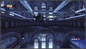 After entering the small room, look up #1 and use the Ceiling Climb ability by pressing RB to stick onto the metal construction - Catwoman trophies | Museum - Museum - Batman: Arkham City Game Guide
