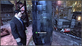 Ignore the flying machine and continue climbing up, eventually reaching a ladder leading onto the top of the building #1 - Climb to the top of the ACE Chemical building to collect your equipment - Main story - Batman: Arkham City - Game Guide and Walkthrough