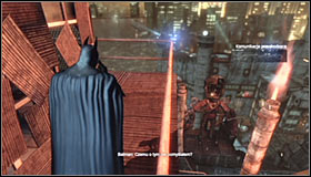 Your goal is reaching the high tower with multicoloured lights #1 - Track down the source of the radio signal to locate Joker - Main story - Batman: Arkham City - Game Guide and Walkthrough