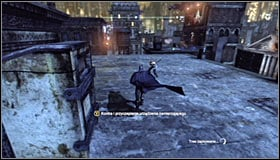 Run straight, jumping onto the roofs of the lower buildings #1 - Catch assassin and plant tracking device | Main story - Main story - Batman: Arkham City Game Guide