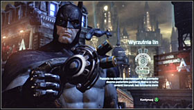 The fight will be very short, as the only thing you have to do is wait for the well-known signs to appear above her head #1 and perform a counterattack when it does (Y) - Catch assassin and plant tracking device | Main story - Main story - Batman: Arkham City Game Guide