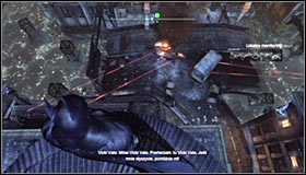 Start by using the Grapnel Gun #1 to avoid falling into the water and reaching the roof of the Gotham City Police Dept - Rescue Vicki Vale from chopper crash site | Main story - Main story - Batman: Arkham City Game Guide