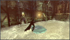 Approach the ledge and once again use the Freeze Blast to create an ice raft #1 - Infiltrate the Steel Mill (part 2) | Main story - Main story - Batman: Arkham City Game Guide
