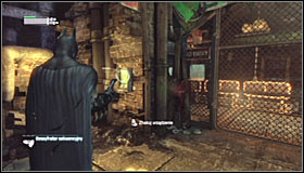 Turn around and use the Grapnel Gun to reach the upper south ledge #1 - Infiltrate the Steel Mill (part 2) | Main story - Main story - Batman: Arkham City Game Guide