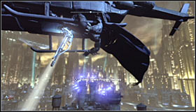 Stay beside the helicopter you have scanned a moment ago and use the Grapnel Gun (RB) on it #1 - Retrieve Master Control Program transmitter from Primary Helicopter | Main story - Main story - Batman: Arkham City Game Guide
