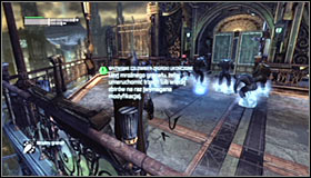 Glide forward and turn around to get behind the enemies backs #1 - Climb the observation deck to stop Protocol 10 | Main story - Main story - Batman: Arkham City Game Guide