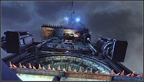 Stop after reaching the place where below you can see a little platform (north wall of the tower) #1 with an extension arm attached to it - Climb the observation deck to stop Protocol 10 | Main story - Main story - Batman: Arkham City Game Guide