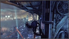 After getting up turn left and jump towards the extension arm in front of you #1 - Climb the observation deck to stop Protocol 10 | Main story - Main story - Batman: Arkham City Game Guide