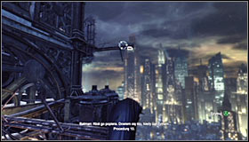 Look up and once again use the Grapnel Gun #1, this time to grab onto the extension arm above - Climb the observation deck to stop Protocol 10 | Main story - Main story - Batman: Arkham City Game Guide