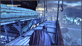 If you decide to follow the branch leading down #1, you will reach an exit in the building wall and after unlocking it you will be able to jump onto one of the outer balconies #2 - Climb the observation deck to stop Protocol 10 | Main story - Main story - Batman: Arkham City Game Guide