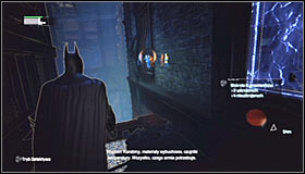 After reaching the new ledge, look up and use the Grapnel Gun to reach the upper level #1 - Fragile Alliance - p. 2 | Side missions - Side missions - Batman: Arkham City Game Guide
