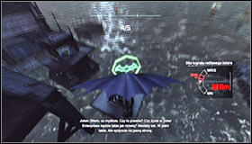 The overall idea is rather obvious, as you have to fly though five green checkpoints #1 by using the glide ability (hold down A) - AR Training | Side missions - Side missions - Batman: Arkham City Game Guide