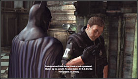 After the fight, approach Eddie Burlow #1 and free him - Enigma Conundrum (riddles 1-9) - Side missions - Batman: Arkham City - Game Guide and Walkthrough