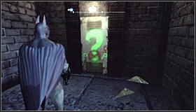 Approach the question mark #1 and press A to destroy the part of the nearby wall - Enigma Conundrum (riddles 1-9) | Side missions - Side missions - Batman: Arkham City Game Guide