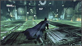 Turn right and throw a Batarang at the question mark closest to the entrance #1 - Enigma Conundrum (riddles 1-9) | Side missions - Side missions - Batman: Arkham City Game Guide