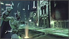 Now its going to be a bit harder, as you need to throw Batarangs at two different question marks #1 #2, the two that you have already hit to be precise - Enigma Conundrum (riddles 1-9) | Side missions - Side missions - Batman: Arkham City Game Guide