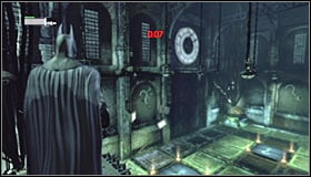 Turn a bit to the right and aim at the so far unused question mark #1 - Enigma Conundrum (riddles 1-9) | Side missions - Side missions - Batman: Arkham City Game Guide