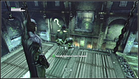 Turn towards the platform on which the hostage is, glide towards it #1 and free Adam Hamasaki #2 - Enigma Conundrum (riddles 1-9) | Side missions - Side missions - Batman: Arkham City Game Guide